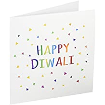 Happy Diwali Hindu festival of light colorful text - Greeting Cards, 6 x 6 inches, set of 12 (gc_202098_2)