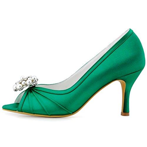 ElegantPark EP2094AE Mujer Peep Toe AE Desmontable Zapatos Clips Zapatillas El tacón alto Satén Baile Zapatos de Boda Verde