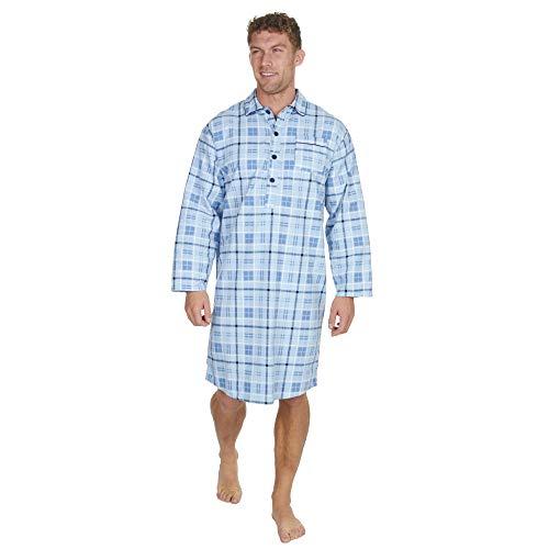 Mens Check Stripe Print Flannel Nightshirt (Large, Light Blue Check)