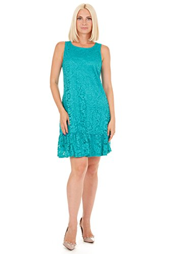 Tiana B Women's Sleeveless Floral Lace A-Line Dress with Self Wide Ruffle at Bottom and Lined in Jersey Turquoise 14 (Jersey Lined Sleeveless)