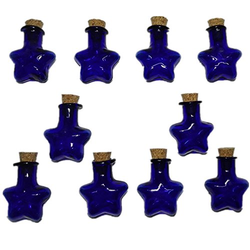10Pcs Mini Glass Bottle Jars Vials Wish Bottle Star Shape Wishing Bottles (Blue) (Perfume Star Bottle)