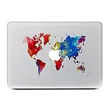 "Vati Leaves Removable world map Vinyl Decal Sticker Skin Art Black for Apple Macbook Pro Air Mac 13"" 15"" inch / Unibody 13"" 15"" Inch Laptop"