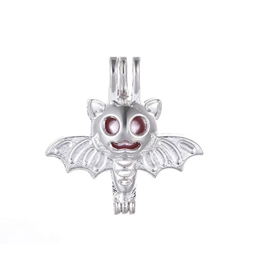 10pcs Bat Pearl Cage Bright Silver Beads Cage Locket Pendant Jewelry Making Supplies--For Oyster Pearls, Essential Oil Diffuser, Fun Gifts (Bat Charms Pendants)