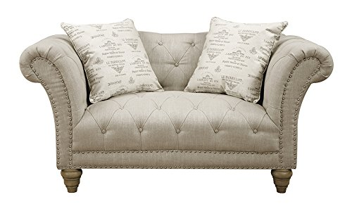 Emerald Home U3164-01-09 Hutton II Loveseat Nail head with 2 Pillows, Natural
