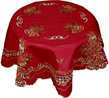Mantel redondo Navidad aspecto de lino rojo 2 velas Oro Pizarra Toalla mesa Navidad techo, 100% poliéster, Dunkelrot=Weinrot, Stickerei Gold, Bunt, 160 cm