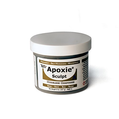(Waterproof Air Dry Clay for Sculpting and Repairs – Adhering to All Surfaces Non-Toxic 2 Part Epoxy Putty Sculpting Clay – 2 Part A & B Self Hardening Apoxie Sculpt Modeling Clay by Aves, 1 Lb, Black                   )