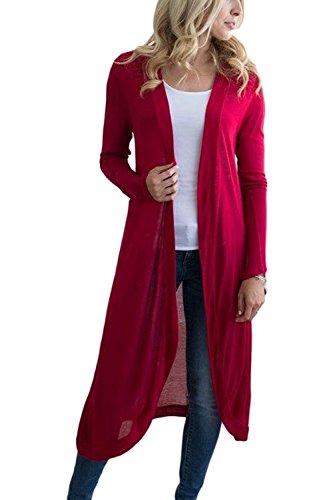 La Mujer Es Elegante De Manga Larga Llanura Knitting Cardigan Red