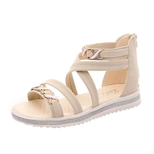 OverDose Damen Sommer Frauen Flache Schuhe Sommer Weiche Leder Freizeit Damen Sandalen Beige