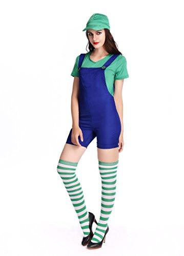 ANRevelinCN Halloween Adult Dress Woman pulumber Costume 1809 (M, (Sexy Green Plumber Costumes)