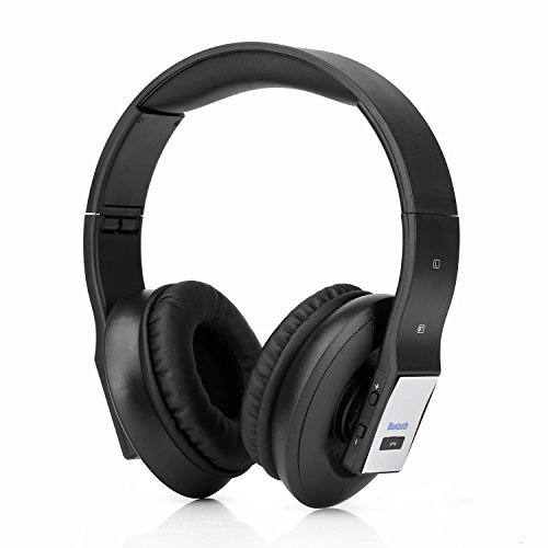 Rhorawill Wireless Bluetooth Over The Ear Foldable Headphones | Adjustable Size, Noise Cancelling Ear Cups, Built-In Mic & AUX | Crystal Clear Audio Sounds & Calls | For Running, Sports, Work & More