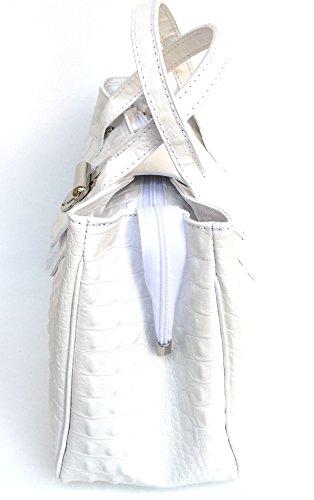 Bauletto Italy in Donna stampa SUPERFLYBAGS Borsa Coccodrillo Milena Pelle Large Bianco modello Vera in Made OB5nqxTw