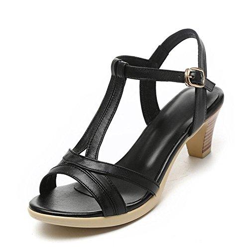 QL@YC Damen Sandalen Im Sommer Mit Dicken Leder Leder Weichen Rock Bequemen GroßEn GrößE 2017 Damenschuhe , black , 37
