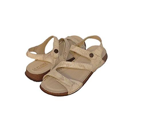 La Plume Maple Womens Leather Open Toe Sandals (38, Bone (Bone Croc)