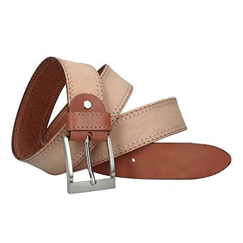 da19c2068f33 Cinturón hombre INTARSI marrón real cuero Made in Italy con pespuntes Bueno  wreapped