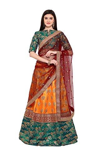 FourCorners2013 Indian Designer Partywear Ethnic Orange and Green Lehenga Choli-Banglori Silk