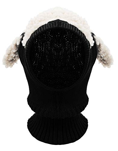Bienvenu Winter Kids Cable Knit Warm Dog Animal Hats Knitted Hooded Scarf Beanies for Autumn Winter, Black (Crochet Beanie Pattern For 2 Year Old)