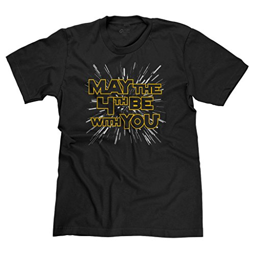 Freshrags May the 4th Force Be with You Star Wars Parody Men's T-shirt XL Black 324