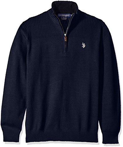 U.S.+Polo+Assn.+Men%27s+Solid+1%2F4+Zip+with+Front+Yoke+Texture%2C+Midnight+Heather%2C+Large