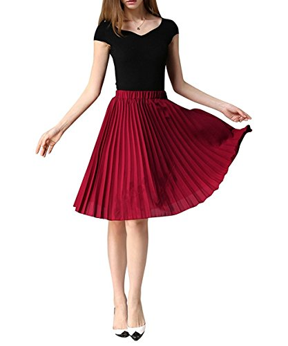 YUNSHANG Simple Retro Dancing Skirt Women's High Waisted Knee Length A line Chiffon Pleated Midi Skirt(Wine Red) Pleated Skirt