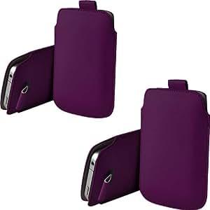 ONX3 Twin Pack Nokia X A110 PU de cuero protector Tab Pouch Funda Piel tirón (púrpura oscura)