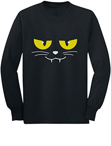 Halloween Evil Cat Face Easy Costume Cute Toddler/Kids Long Sleeve T-Shirt 3T (Easy Halloween Cat Face)