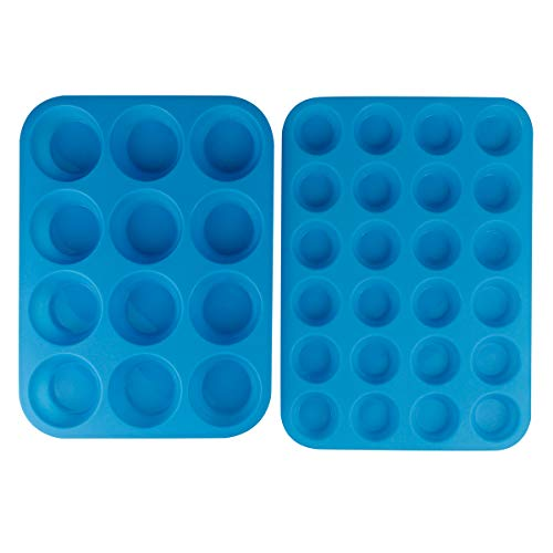 Silicone Muffin Cupcake Pans Set Mini 24 Cups and Regular 12 Cups Muffin Tin Food Grade Silicone Cake Molds Reusable Silicone Baking Cups by Aneforall