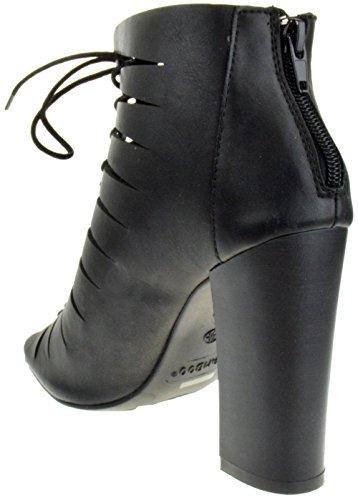 Embark 25S Open Toe High Heel Cut Out Lace Up Pumps Black uuVwx