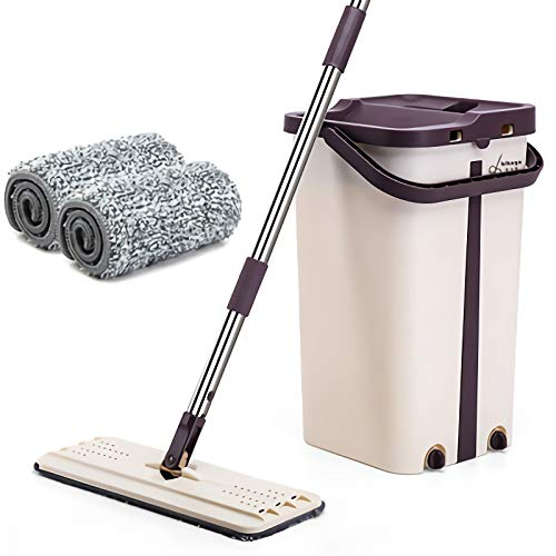 Flat Squeeze Mop and Bucket Hand Free Wringing Floor Cleaning Mop with 2 Reusable Microfiber Mop Pads for Wet and Dry Mopping on All Floor Surfaces (1 barrel +1 mop + 2 pieces of cloth)