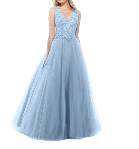 Spitze Prinzess Partykleider Abendkleider Tanzenkleider Blau mia Himmel Abschlussballkleider Promkleider La Brau Langes Tuell UYIzxWp