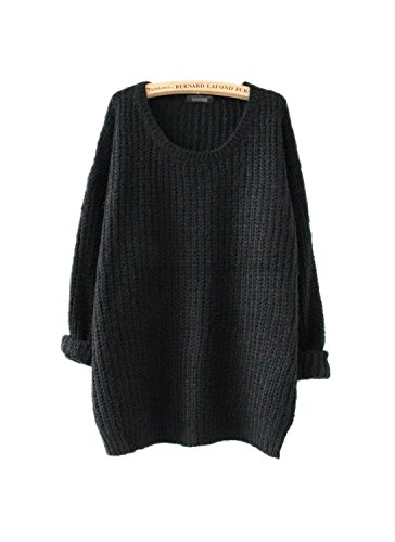 ARJOSA Women's Fashion Oversized Knitted Crewneck Casual Pullovers Sweater (#3 Black)