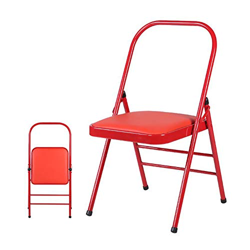 CJC Chairs Folding Yoga Backless Standard Prop Practice Asana Activity Padded Foldable 4 Color (Color : Red)