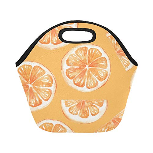 Insulated Neoprene Lunch Bag Lemon And Orange Clementine Twig Fruits Delicious Winter Vitamin Design Large Size Reusable Thermal Thick Lunch Tote Bags For Lunch Boxes For Outdoors,work, Office, ()