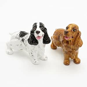 English Cocker Spaniel Dog Ceramic Figurine Salt Pepper Shaker 00006 Ceramic Handmade Dog Lover Gift Collectible Home Decor Art and Crafts