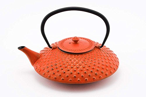 Hinomaru Collection Artisan Workshop Red Dotted Hobnail Japanese Tetsubin Tea Kettle Cast Iron Teapot with Stainless Steel Infuser 40 oz