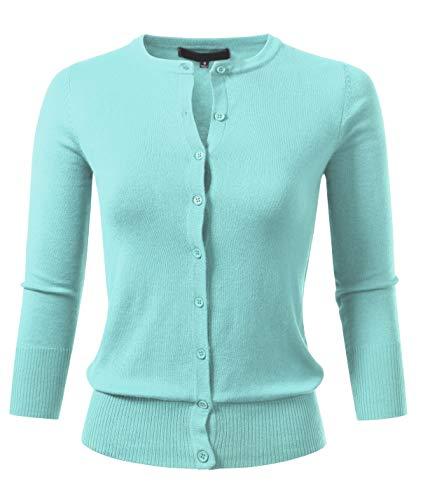 (Allsense Women's Button Down 3/4 Sleeve Crew Neck Knit Cardigan Sweater 3XL Ice)