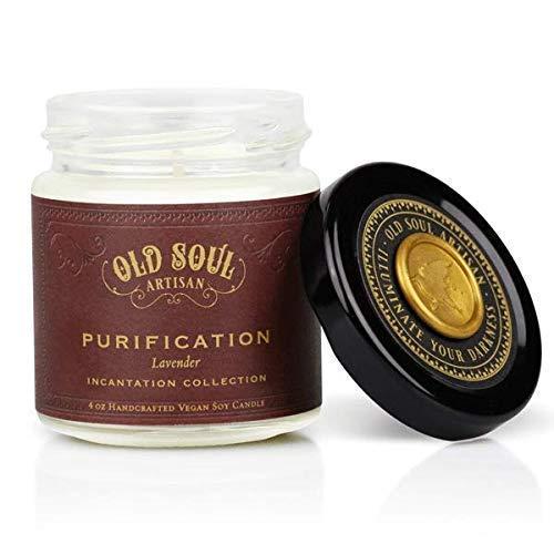 Purification - Lavender Candle - Scented Hand Poured Vegan Soy Altar Sacred Space Meditation - 4 oz