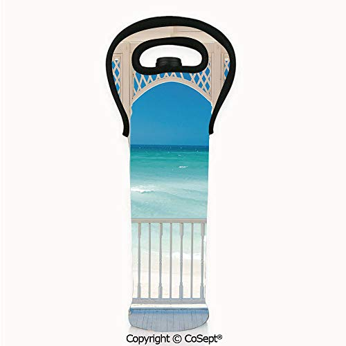 (Bottle Protective Carrier,Romantic Wooden Terrace with View of Tropical Beach in Cuba Pavilion,Great Value to Store a Wine Bottle in This Single Tote Bag(4.72x14.96 inch) White Aqua Blue)