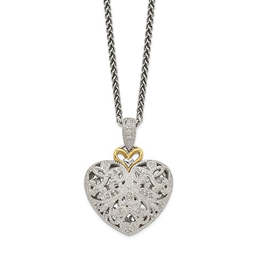 Rhodium-Plated Sterling Silver, 14k Yellow Gold Diamond Vintage Heart Necklace, 18