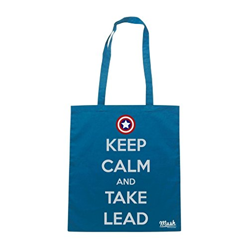 Borsa Keep Calm And Take Lead Cpt America - Blu Royal - Film by Mush Dress Your Style
