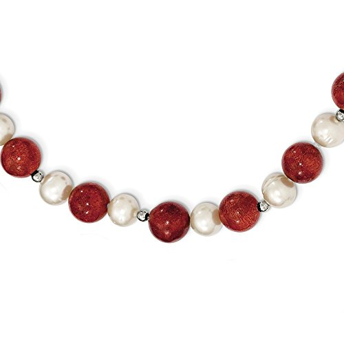 (925 Sterling Silver Freshwater Cultured Pearl Stabilized Red Coral Chain Necklace Pendant Charm Fine Jewelry Gifts For Women For Her)