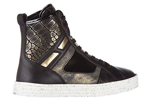 Hogan Rebel chaussures baskets sneakers hautes femme en cuir r141 patchwork noir