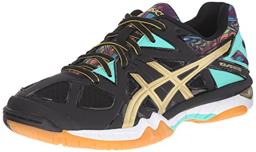 ASICS Damen Gel Tactic Volleyballschuh Schwarz / Gold / Electric Grün
