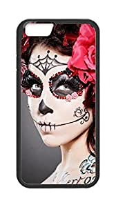 Sugar Skull Makeup Pattern Iphone 6 Plus 5.5 Inch TPU Case Cover Protector Christmas Gift (Laser Technology)