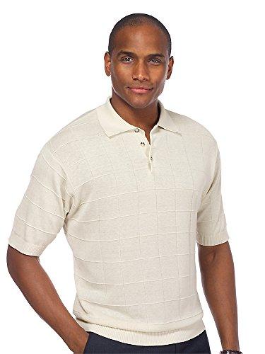 Paul Fredrick Men's Silk Grid Short Sleeve Sweater