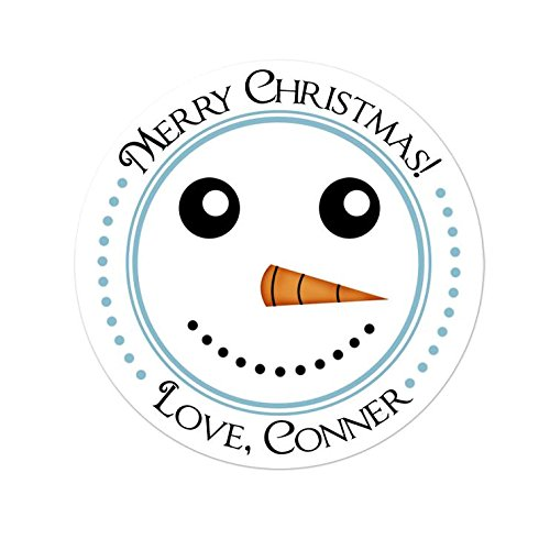Personalized Customized Holiday Christmas Gift Stickers - Snowman Face - Round Labels - Choose Your Size