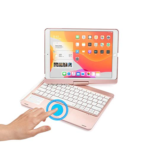 360 Rotating iPad 10.2 inch 2020 iPad 8 Backlit Keyboard case with Touchpad ,iPad 8th Generation 7th Gen Trackpad Keyboard with Apple Pencil Holde Rainbow Backlights Touch Keyboard (Rosegold)