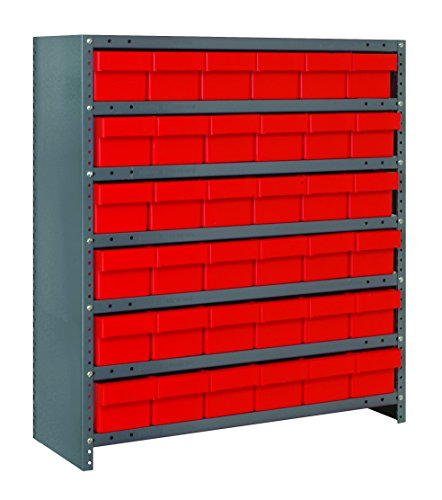 Quantum Storage Systems CL1239-601RD Closed Shelving System with Super Tuff Euro Drawers, 36 QED601 Shelf Bins, 12