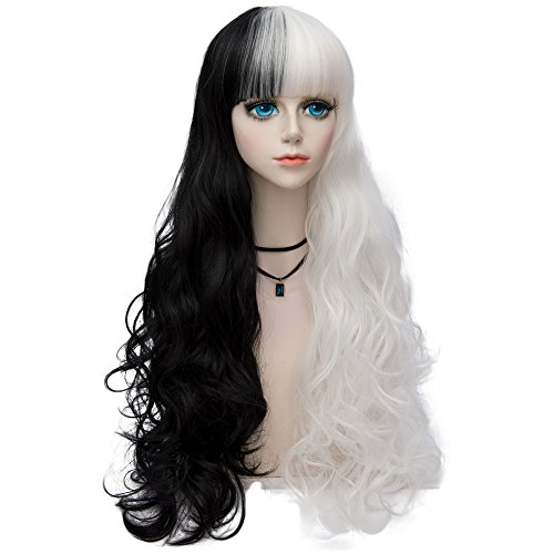 Aicos Probeauty Mix White Black Long Halloween Curly Hair Wig/Wigs Cosplay Party+Wig Cap (Full Bangs Long Curly Hair)