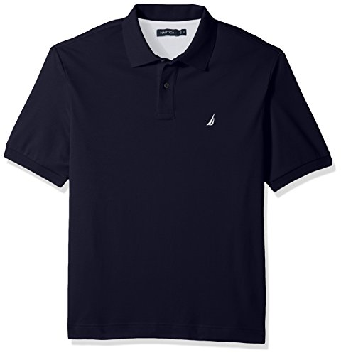 Nautica Men's Big and Tall Classic Fit Short Sleeve Solid Soft Cotton Polo Shirt, Navy, 2X