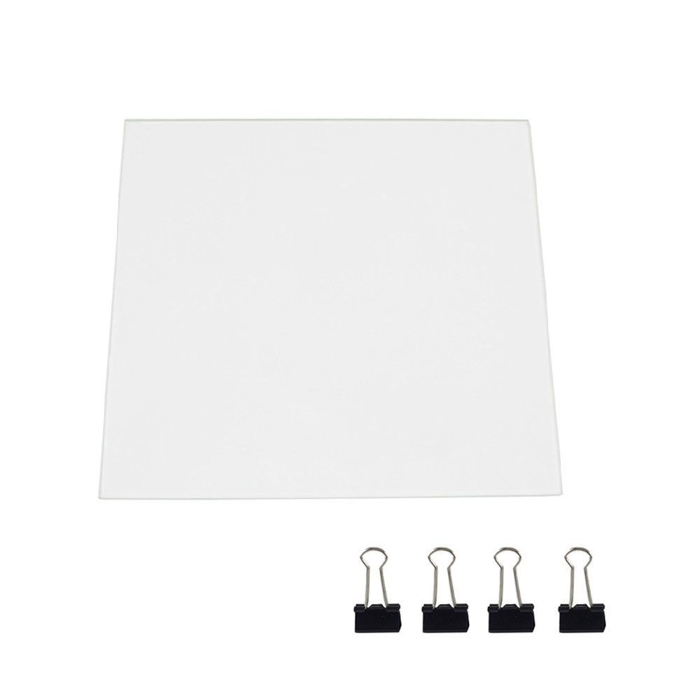 3D Printer Glass Bed Upgraded, Borosilicate Glass Plate for Creality Ender 3 Pro Ender 5 Pro 235x235x3mm Build Surface Replacement with 4 Glass Clips